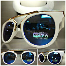 Men's or Women CLASSIC VINTAGE RETRO Style SUN GLASSES Unique White & Gold Frame