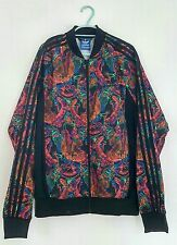 Mens colourful pattern vibrant funky adidas originals zip tracksuit top size L