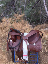 "15"" Hand Tooled Western Pleasure Trail Horse Saddle Pkg"