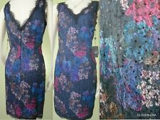 NWT ADRIANNA PAPELL Size 10P V-neck/back Sequined Organza lace Cocktail Dress
