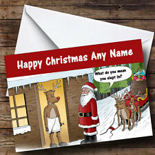 Funny Joke Slept In Christmas Greetings Card Personalised