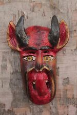 Hand Carving Wood Satan Devil Folk Art Mask 12'' Home Decor