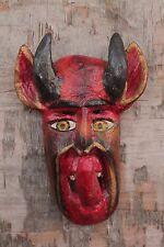 Hand Carving Wood Satan Devil Folk Art Mask 12'' Home Decor