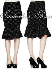 New HELL BUNNY Momo Black Polka Dot 50s Pencil Wiggle Skirt XS UK 8-10