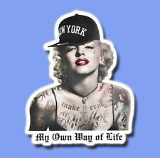 Sticker - My Own Way of Life Tattoo Marilyn Monroe Decal Skateboard Guitar Vinyl