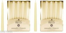 100 x Prices Wax Candles Tapered Large Dinner Candle Ivory Unscented No Drip 10""