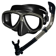 Promate Scuba Dive Snorkeling Purge Mask Dry Snorkel Gear Set Black Silicone