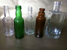 5 VINTAGE Glass MINI BOTTLES Collectibles Bitters Whiskey Liquor Vodka Unknown