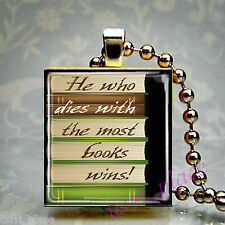 The Most Books Wins Scrabble Tile Pendant Recycled Jewelry Reading Librarian