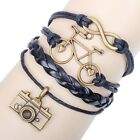 NEW Hot Infinity Love Anchor Leather Cute Charm Bracelet Bronze DIY SL205