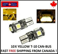10X  T10 YELLOW  194 168 1W 5SMD LED No Error Canbus Side Lamp Wedge Light Bulb