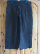 NEW WOMEN'S DENIM Co CHOCOLATE BROWN LINEN 3/4 CROP LENGTH TROUSERS EUR 38 UK 8