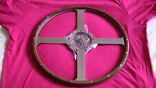 "MOTO-LITA 16"" Classic 4 FLAT POLISHED WOOD RIM STEERING WHEEL JAGUAR XK120 etc"