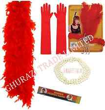 LADIES RED CHARLESTON 1920S CIGARETTE HOLDER PEARL GLOVES BOA FANCY DRESS SET