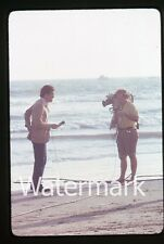 Los Angeles CA 1979  photo slide Channel 2 News Cameraman at Beach KCBS reporter