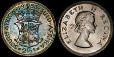 SOUTH AFRICA 2-1/2 SHILLINGS 1953 (PROOF) *NICE BLUE REVERSE TONING*