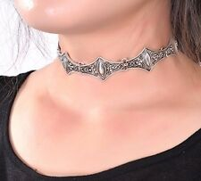 BOHO FESTIVAL ART DECO STYLE ANTIQUE SILVER METAL CHOKER NECKLACE UK SELLER 1