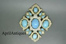 Vintage Crown Trifari jewels of india turquoise cabochon glass cross Brooch