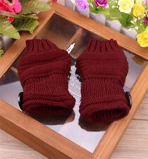 Winter Women Arm Wrist Hand Warmer Knit Long Fingerless Gloves Button Mittens