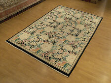 6 x 9 Beautiful Handmade Fine Hand Knotted Aubusson Soft Silky Wool Rug # 2502