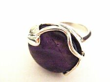 Art Nouveau lily sterling silver amethyst ring N P Brow Eye Crown Chakra Reiki