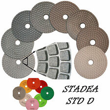 "STADEA Diamond Polishing Pads 4"" Wet/Dry 7 Pcs Set For Granite Marble Concrete"
