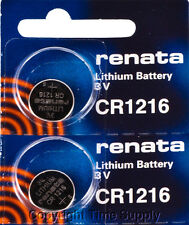 2 pcs 1216 Renata Lithium Watch Batteries FREE SHIP