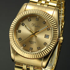 Men's Luxury Dress Gold Stainless Steel Crystal Date Quartz Sports Wrist Watch