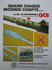 12/1984 PUB FN HERSTAL MITRAILLEUSE MI 50 BROWNING QCB MACHINEGUN FRENCH AD