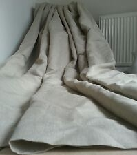 "Made To Measure 130""W 125""D Natural 100%Irish Linen Blackout Lined Bay Curtains"