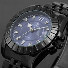 KS Mens Stainless Steel Automatic Mechanical Date Classic Sport Watch Black Blue