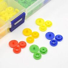 1 Box Flat Round Plastic Snap Fasteners Raincoat Buttons Mixed Color Sewing Fit