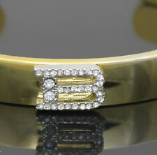 YELLOW GOLD PLATED CRYSTAL LETTER B INITIAL CUFF BANGLE MENS LADIES BRACELET