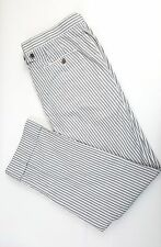 Thom Browne Seersucker Cotton Flat Front Gray & White Trousers Sz 4 39x31