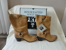 NEW FRYE Women's CARMEN HARNESS TAN WAXED SUEDE SZ 10 $298