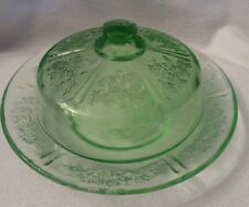 Depression Glass Green Sharon Cabbage Rose Butter Dish & Lid