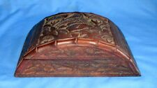 Antique Old Collectible Rose Wood Hand Carved Wild Animal Figure jewelry Box