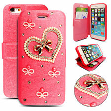Luxury Crystal Bling Leather Magnetic Wallet Flip Case Cover For Various Phones