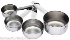 Kitchen Craft Stainless Steel Measuring Cups Set of 4 - 1/4, 1/2, 3/4 and 1 Cup