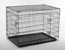 "New 42"" 3 Doors Wire Folding Dog Crate Cage Kennel w/METAL PAN Free DIVIDER"