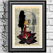 Mounted Gothic Dictionary art print Alice in Wonderland black lotus Steampunk