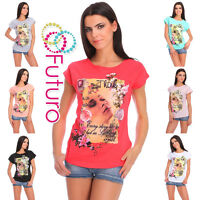 Womens Casual T-Shirt With Print Short Sleeve Ladies Cotton Top Size 12-14 FB279