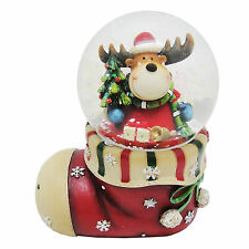 Reindeer in a Christmas Stocking Snow Globe - Collectable Christmas Decoration