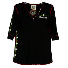 Alp N Rock Size 5 XL Arosa Henley Shirt Top Black Cotton Bld Short Sleeve