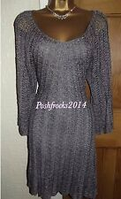 GORGEOUS ❤️ KAREN MILLEN GREY SILVER CROCHET DRESS SIZE 4 U.K. 12 14  KNIT
