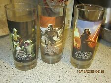 VERY RARE SET OF 3---VINTAGE STAR WARS CHARACTERS GLASSES,Darth Vader, R2 D2 etc