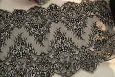 Black Floral Lace Trim Eyelash Lace Scalloped Edges Fabric Tulle 15.74""