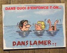 Carte postale La mer,Dans quoi s'enfonce t on ? , humour ,fantaisie ,postcard