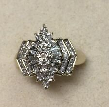 1/2 ct natural (REAL) DIAMOND ladies cluster ring SOLID yellow GOLD