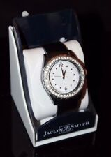 Jaclyn Smith Ladies' Round Bezel w/ Crystals Stone Accent  Watch Black 43815 KMT